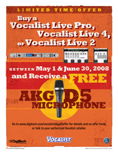 DigiTech Offers Free AKG Vocal Mic With Purcase of Any DigiTech Vocalist Product